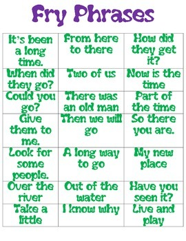 Fry Phrases Flash Cards