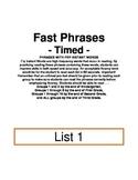 Fry Phrases Flash Cards List 1-6