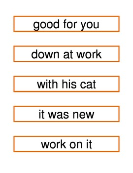 Fry Phrases Flash cards list 1-2