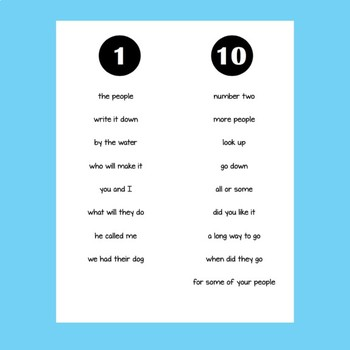 Fry Phrases Fluency Booklets 1-6