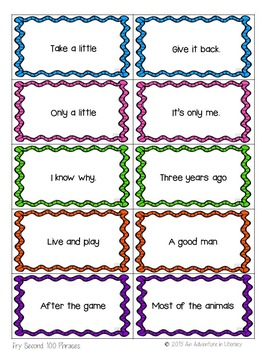 Fry Phrases Fluency Game - Second Hundred
