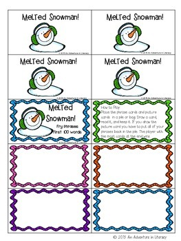 Fry Phrases Fluency Melted Snowman FREEBIE