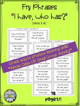 """Fry Phrases (list 1-6) """"I have, who has"""" Activity"""