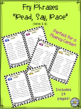 """Fry Phrases (list 1-6) """"Read, Say, Race"""" Activity"""