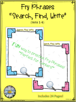"""Fry Phrases (list 1-6) """"Search-Find-Write"""" Activity"""