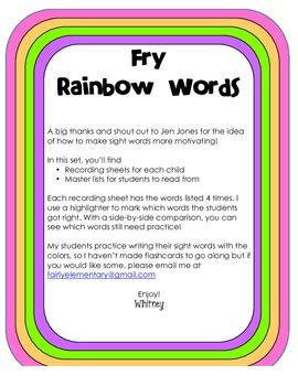 Fry Rainbow Words