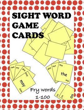 Fry Sight Words 1 through 100 Game Cards
