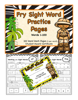 Fry Safari Words 1-100 Practice Pages