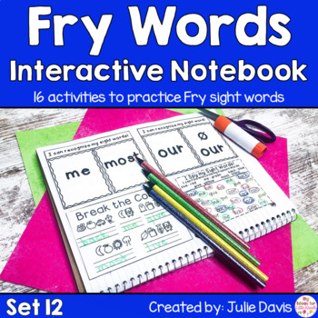 Fry Second 100 Set 12 Sight Word Interactive Notebooks