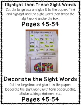 Fry Second 100 Set 13 Sight Word Interactive Notebooks