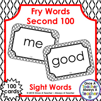Fry Second 100 Sight Words - Flash Cards