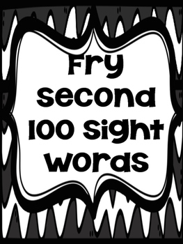 Fry Second 100 Word Wall Words (Black & White)