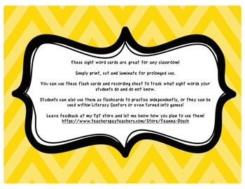 Fry Sight Word Cards- First 100 with Student Assessment Sheet