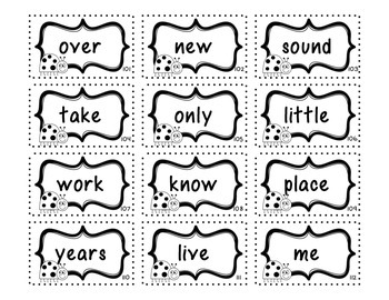 Fry Sight Word Cards- Second 100 with Student Assessment Sheet