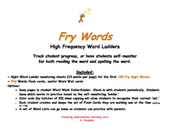 Fry Sight Word 1-100  Self- Monitoring Organizer, 17 pages