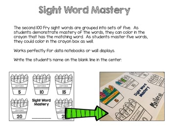 Fry Sight Word Activities Data Tracking - 2nd 100 Words