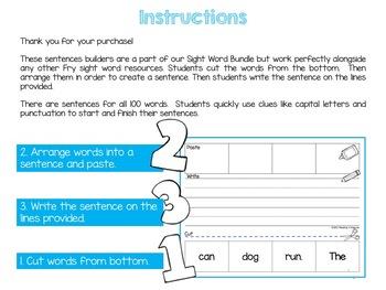 Fry Sight Word Activities Sentence Builder
