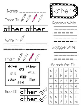 Fry Sight Word Activity Pages: Fry 100 Part 2
