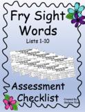 Fry Sight Word Assessment Checklist