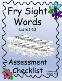 Fry Sight Word Assessment Checklist