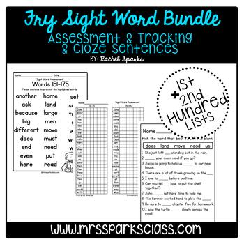 Fry Sight Word Assessment & Cloze Sentences Bundle (1st & 2nd Hundred Lists)