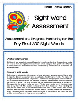 Fry Sight Word Assessment and Progress Monitoring Materials