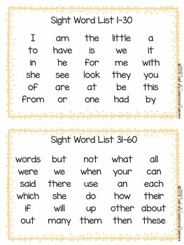 Sight Word Assessment and Progress Monitoring Materials