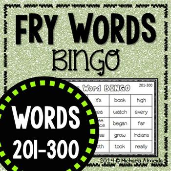 Fry Sight Word BINGO (Words 201-300) Editable
