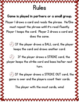 Fluency with Fry Sight Word Phrases Baseball- List 1