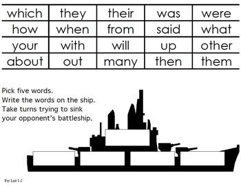 Fry Sight Word Battleship Boards