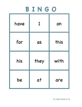 Fry Sight Word Bingo (1-60)