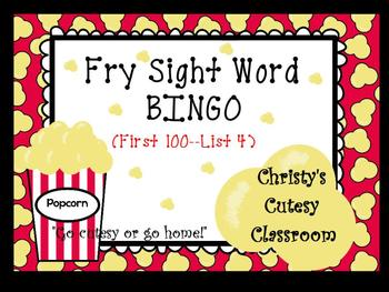 Fry Sight Word Bingo--First 100 Words (List 4)