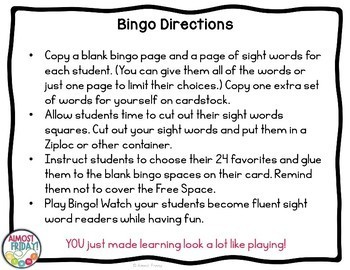 Fry Sight Word Bingo | Second 100