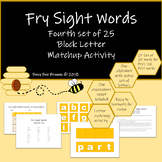 Fry Sight Word Block Letter Match-up Activity 4th Set of 25 in first 100 words