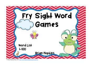 Fry Sight Word Board Games - No Prep 100 Word List