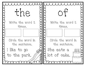 Fry Sight Word Book (Words 1-20)