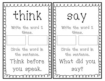 Fry Sight Word Book (Words 121-140)