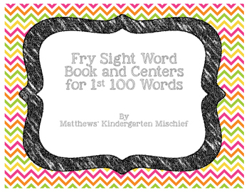 Fry Sight Word Book and Centers