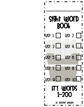 Fry Sight Word Book and Checklist for the First 200 Words