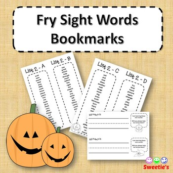 Fry Sight Word Bookmarks - 1 to 1000 - Halloween theme