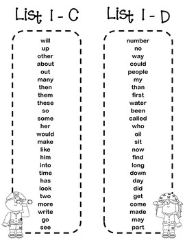 Fry Sight Word Bookmarks - 1 to 1000 - Pirates