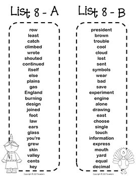 Fry Sight Word Bookmarks - 1 to 1000 - Thanksgiving