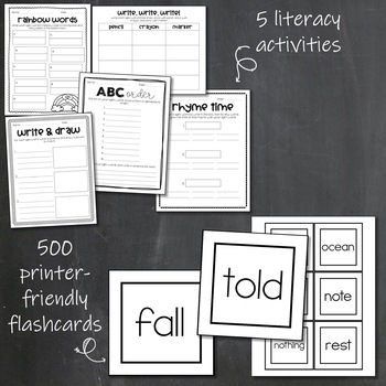 Fry Sight Word Bundle: First 500 Words- lists, bookmarks, activities