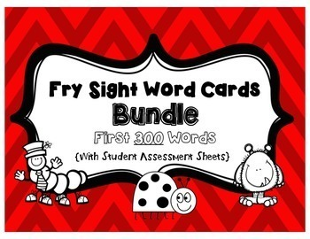 Fry Sight Word Cards- Bundle of 300 Words with Student Ass