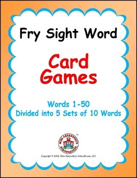 Fry Sight Word Card Games - Words 1-50