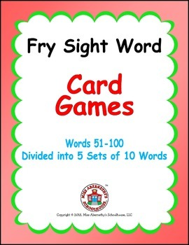 Fry Sight Word Card Games - Words 51-100