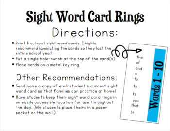 Fry Sight Word Card Rings {Sight Word Practice}