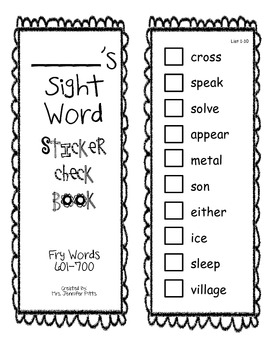Fry Sight Word Check Sticker Book 601-700
