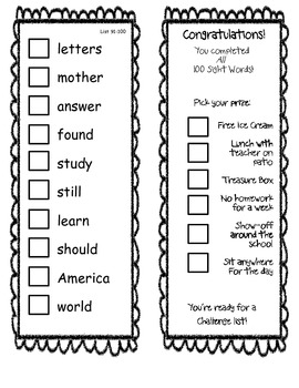 Fry Sight Word Check/Sticker Book 101-200