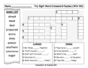Fry Sight Word Crossword Puzzles 10th 100